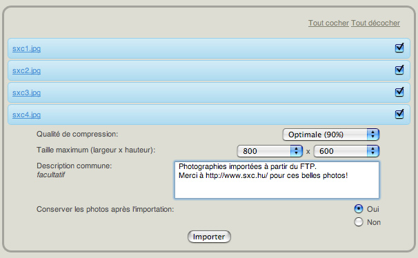 Screenshot Importation d'images 4